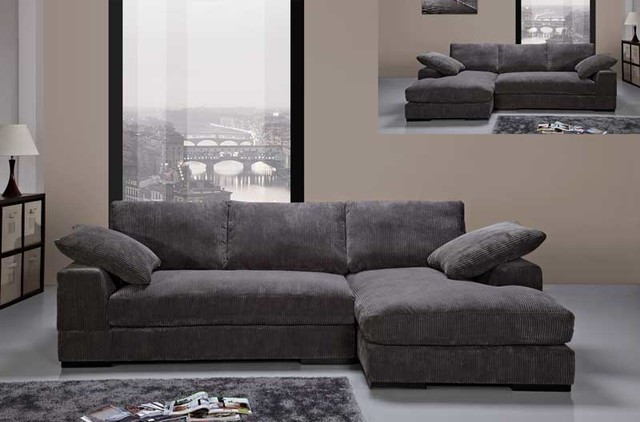Modern Charcoal Soft Fabric Sectional Sofa Couch