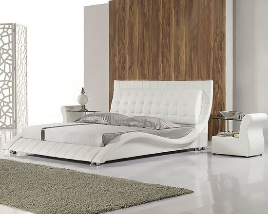 Italian Leather Bed - HX-A019 - Genuine Italian leather on headboard and leather match on the sideboards and back