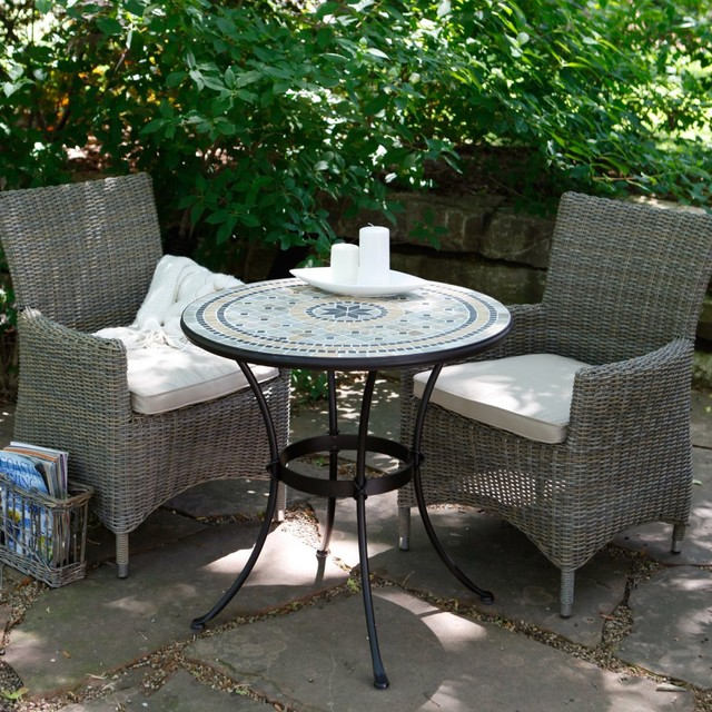 Palazetto Barcelona Mosaic and Wicker Chairs Patio Bistro Set Contemporary