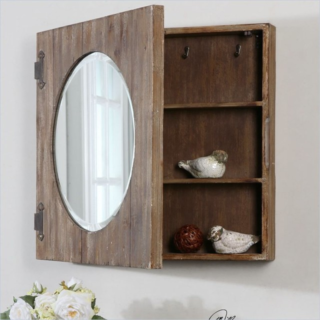 Uttermost Gualdo Aged Wood Mirror Cabinet - Farmhouse - Medicine Cabinets - other metro - by Cymax