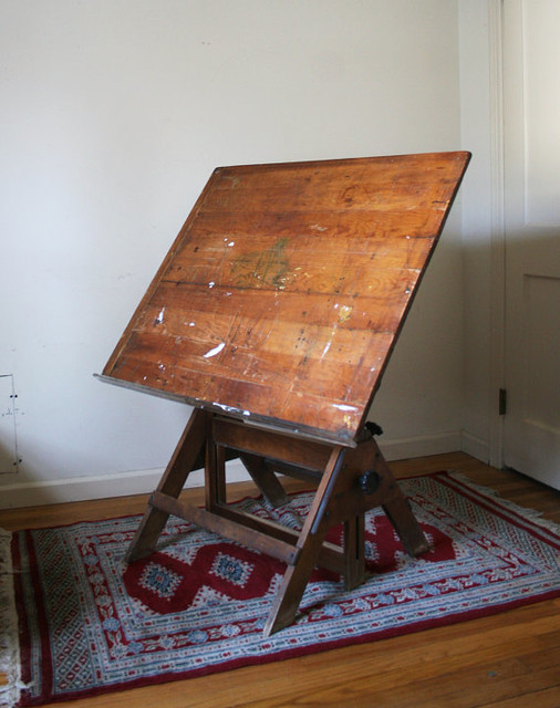 Antique Drawing Drafting Table by Karen C. Kramer traditional side tables and accent tables