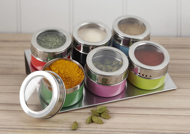 Magnetic Multicoloured Spice Jars contemporary food containers and storage