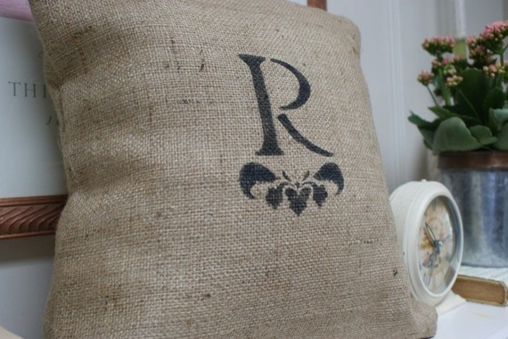 Monogrammed Burlap Pillow Cover by myadobecottage on Etsy eclectic pillows