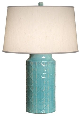 "Turquoise Cane Ceramic Vase Lamp 28"" by Emissary Home and Garden asian-table-lamps"
