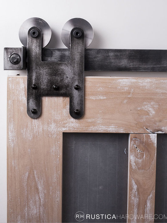 Barn Door Hardware - The new H Strap Barn door hardware has a solid and simple design. This one is arrayed in an antique pewter finish.