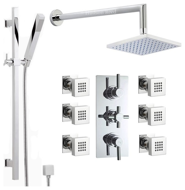 Chrome Thermostatic Shower System With Rain Head