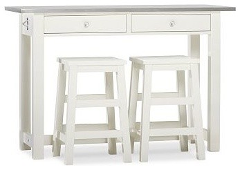 Balboa Wood & Stainless Steel Counter-Height Table & Stools, White traditional-bar-tables