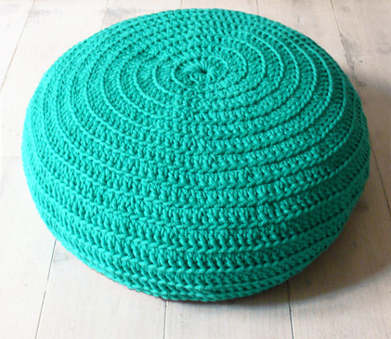 Floor Cushion Crochet, Mint Green by La Casa de Cot contemporary ottomans and cubes