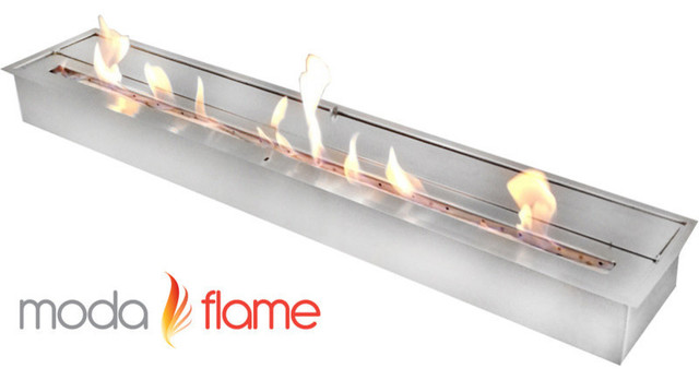 Moda flame 47 inch ethanol fireplace burner insert for Ethanol outdoor fire pit