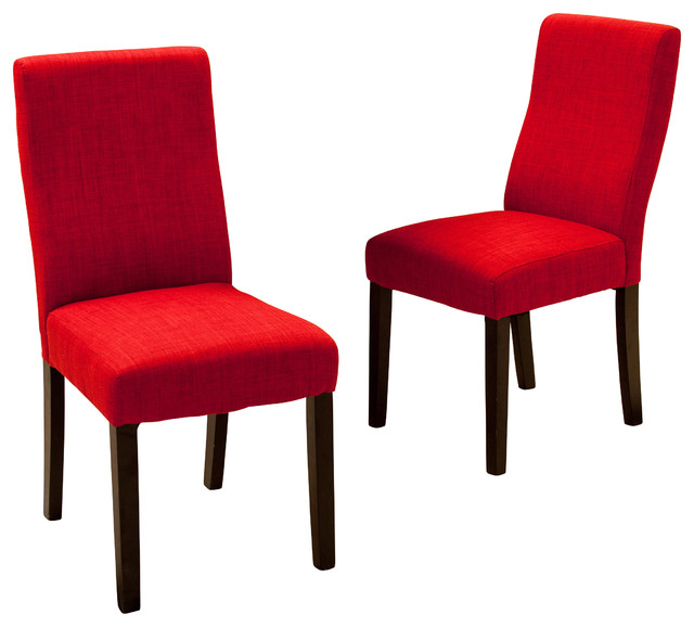 Heath Fabric Dining Chairs Set Of 2 Red Contemporary Dining Chairs B