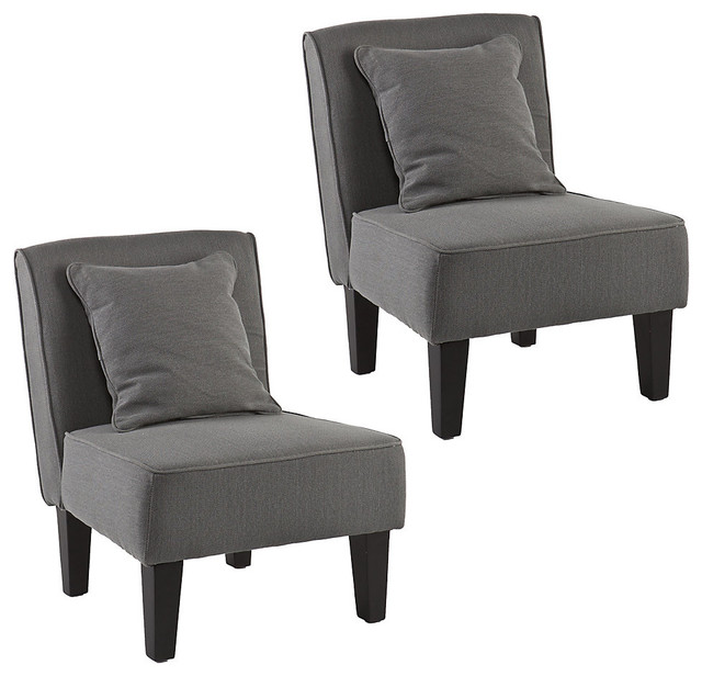 Purban slipper chairs set of 2 cool gray transitional for Cool armchairs