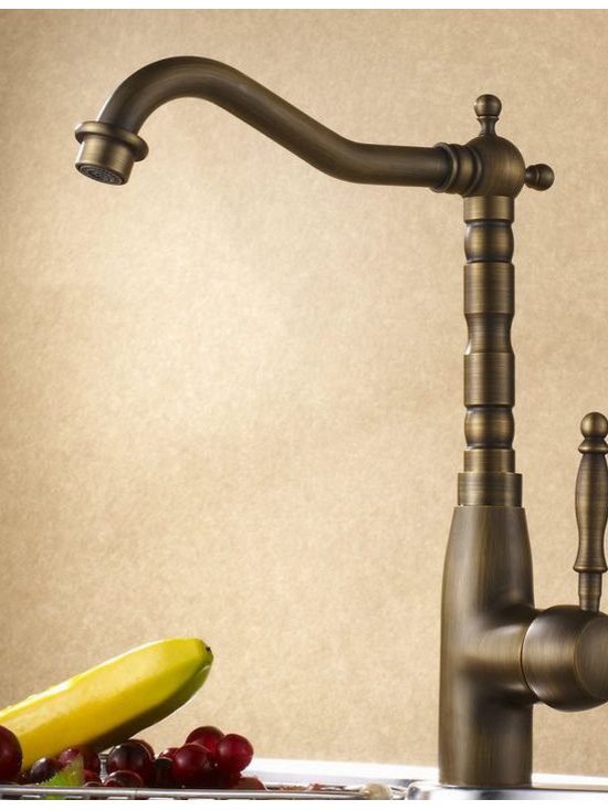 Luxury single handle antique brass kitchen faucet - Features:
