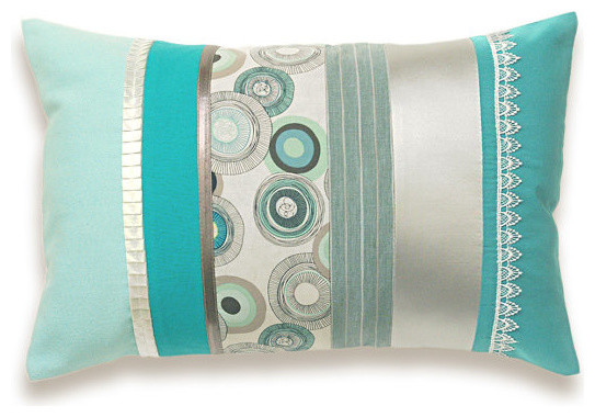 Aqua Duck Egg Blue Silver White Lumbar Pillow Case 12 X 18