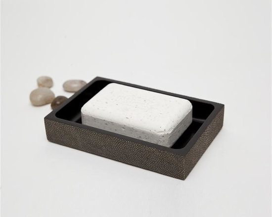 "Manchester Soap Dish-Mushroom - Up your elegance and add an edge to your aesthetic with our striking faux shagreen Manchester collection. Each piece is crafted to highlight the natural ""eye"" pattern inspired by real shagreen, and topped with a wood veneer trim. Available in five colors, every set is hand-finished to bring out the highs and lows of each hue. Turn the page to see the Manchester in every color!"
