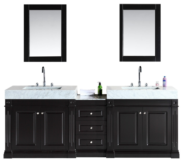 Odyssey 88 Double Sink Vanity Set With Trough Style Sinks Modern Bathroom Vanities And Sink