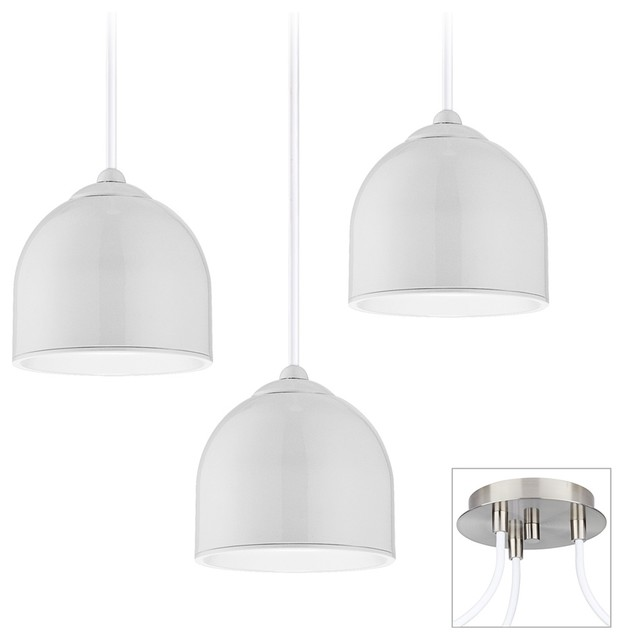 Dome Brushed Nickel Triple Multi Light Pendant contemporary-chandeliers