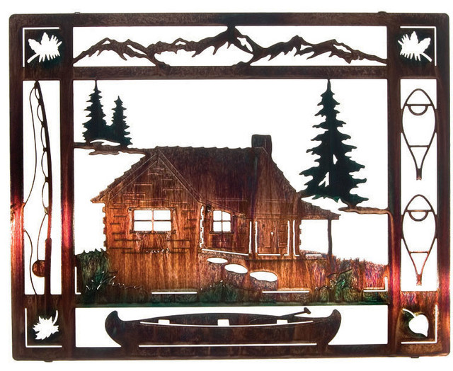 at the cabin rustic metal wall art 20 rustic artwork by mybarnwoodframes. Black Bedroom Furniture Sets. Home Design Ideas