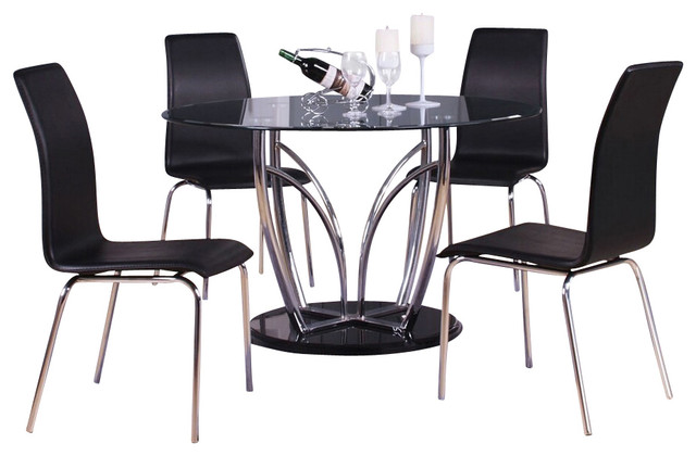 5 PC Elinor Espresso Chrome Finish Metal And Round Glass Top Dining Table Set