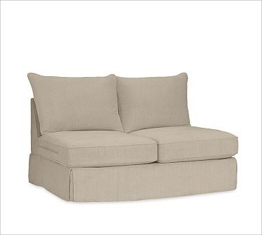 PB Comfort Armless Love Seat Slipcover, Knife-Edge Cushions, Twill Parchment traditional-chairs
