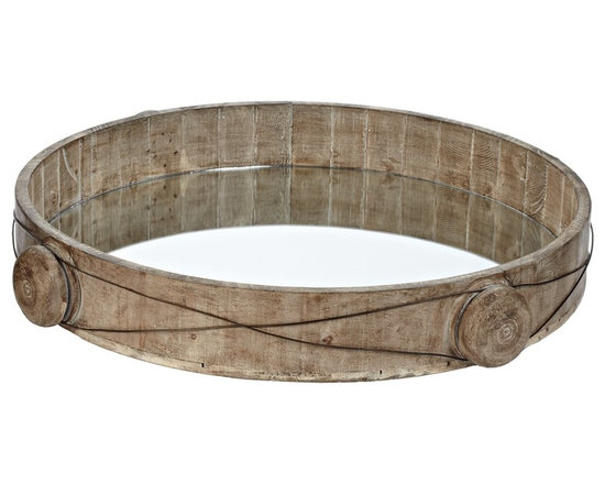Lazy Susan - Lazy Susan 594019 Equation Wire Tray - How about another round? This round and rustic tray is made of distressed fir wood encircled in worn knobs wrapped in iron wire. At about 19 inches wide, it's fitted with a mirror to reflect your good taste.