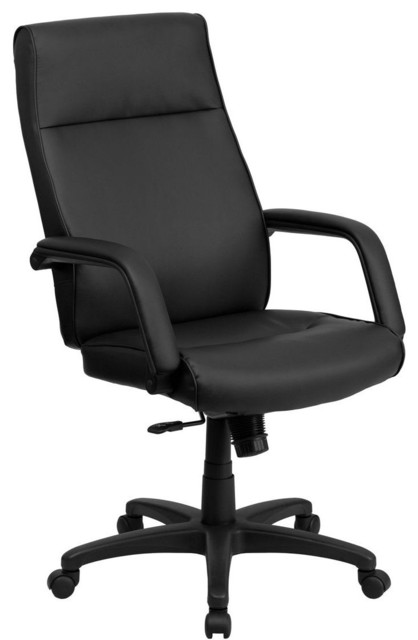High Back Black Leather Executive Office Chair With Memory Foam Padding Mod