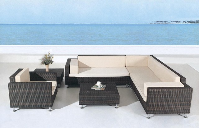 Avrim patio sectional sofa set tropical outdoor lounge Outdoor sofa tables