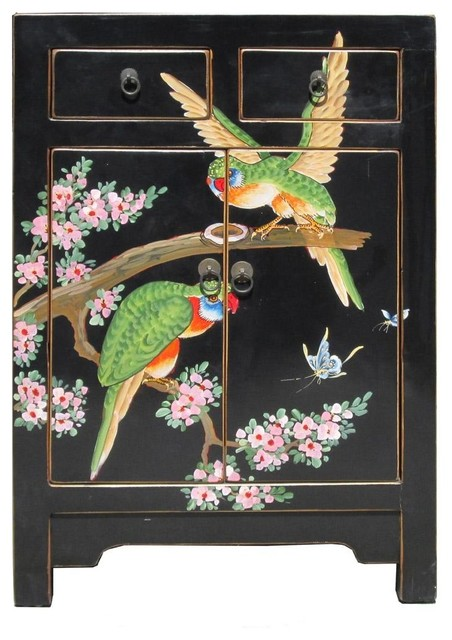 Chinese Black Base Color Birds Graphic End Table tropical-side-tables-and-end-tables