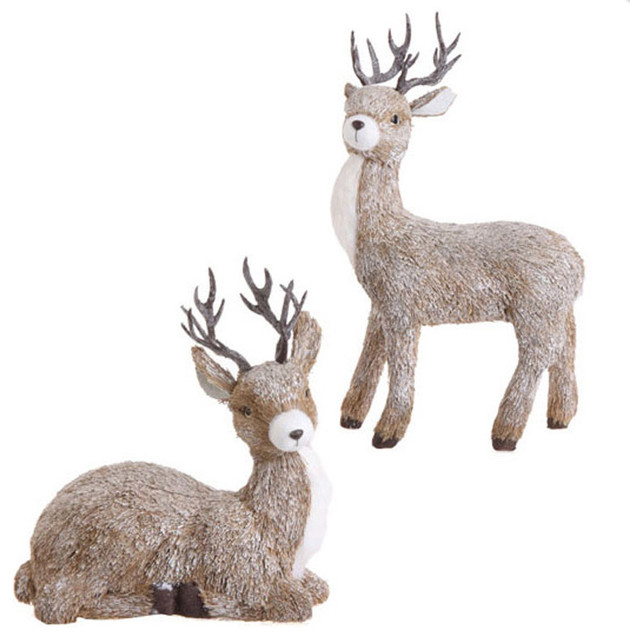 Christmas deer set of 2 eclectic outdoor holiday for Christmas reindeer decorations outdoor