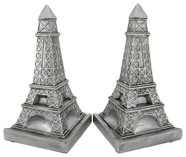 Decorative Metallic Silver Eiffel Tower Bookends contemporary-bookends