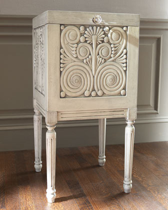 White Carved File Box  traditional storage and organization