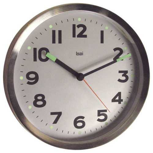 silver 10 inch brushed stainless steel wall clock modern clocks by bellacor. Black Bedroom Furniture Sets. Home Design Ideas