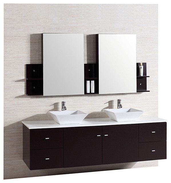 Kokols 72-inch Double Sink Vanity with Mirror and Faucets - Contemporary - Bathroom Mirrors - by ...