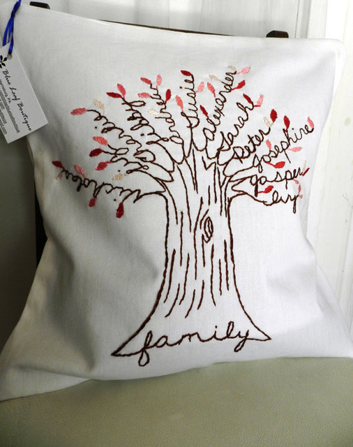 Personalized Family Tree Pillow Cover By Blue Leaf Boutique eclectic-decorative-pillows