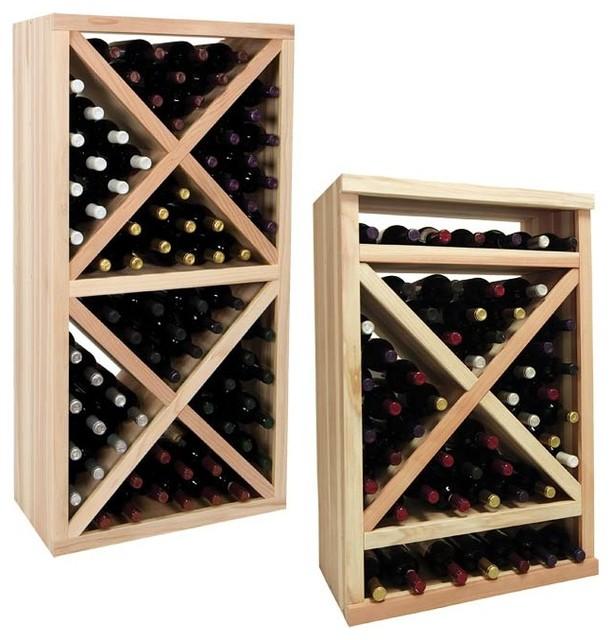 Vintner Series Wine Rack - Solid Diamond Cube Wine Rack with Face Trim traditional-wine-racks