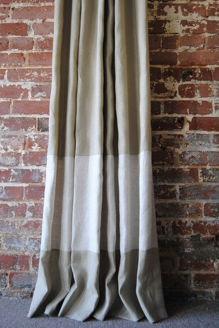 Custom Two-Toned Banded Knife Pleated Drapery Panel - Contemporary - Curtains - by Etsy
