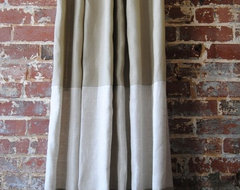 Custom Two-Toned Banded Knife Pleated Drapery Panel contemporary-curtains