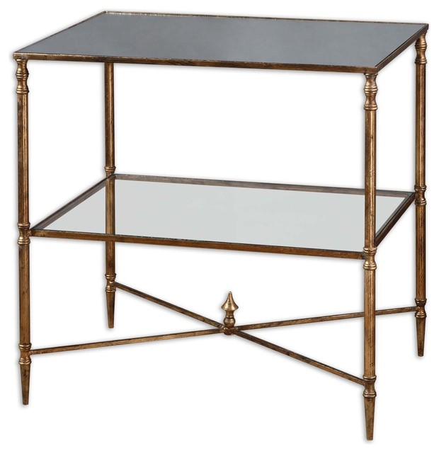 Antique Gold Rectangle Mirror Lamp Accent Table transitional-side-tables-and-end-tables