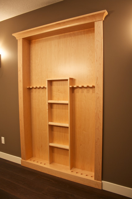 Custom maple pool cue rack contemporary calgary by for Cue rack plans