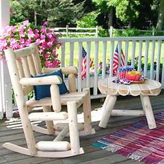 Rustic Cedar Log Collection - Porch Rocker & Table - RC3A
