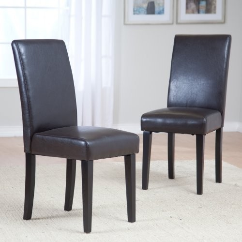 Leather parsons dining chair 2 chairs contemporary for Leather parsons dining chair