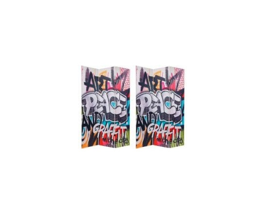 Functional Art/Photography Printed on a 6ft Folding Screen - 6ft three panel folding screen divider with bold urban graffiti characters, this screen is stylish and practical