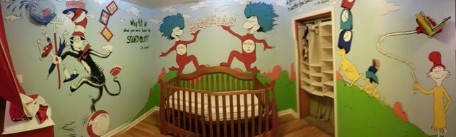 Cat in the hat nursery theme eclectic tampa by for Mural unique