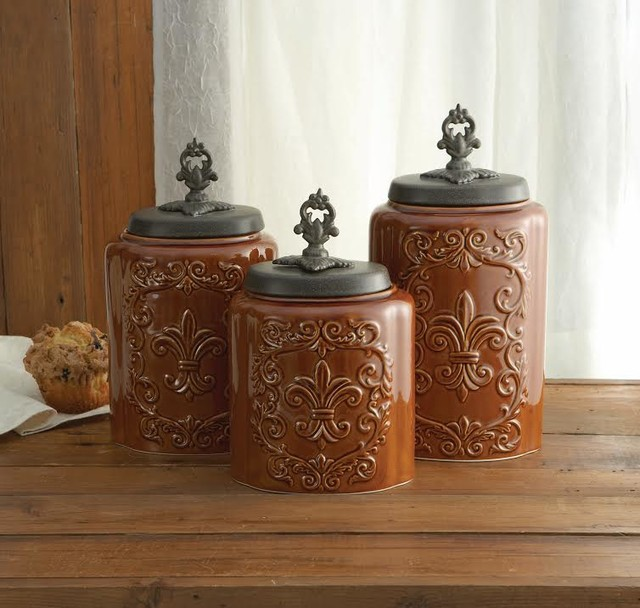 Antique fleur de lis brown canister set rustic kitchen canisters and jars new york by - Rustic kitchen sets ...