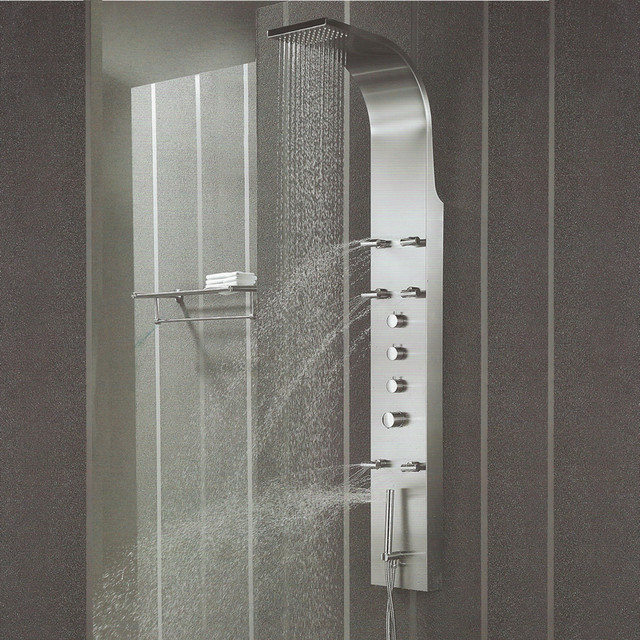 Stainless steel shower panel tower system massage spray for Shower tower with body jets