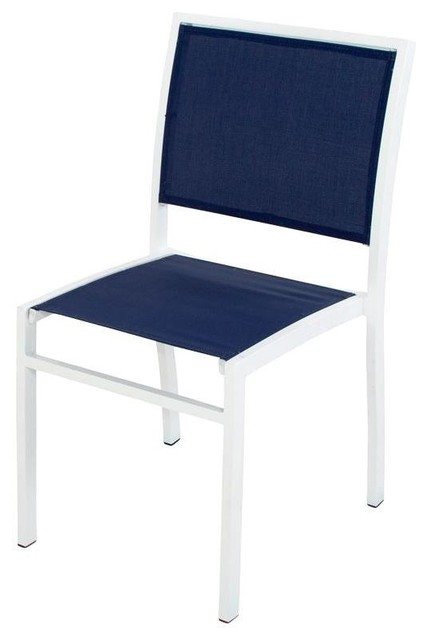 POLYWOOD Chairs Bayline Patio Dining Side Chair in Satin White Navy Blue Slin