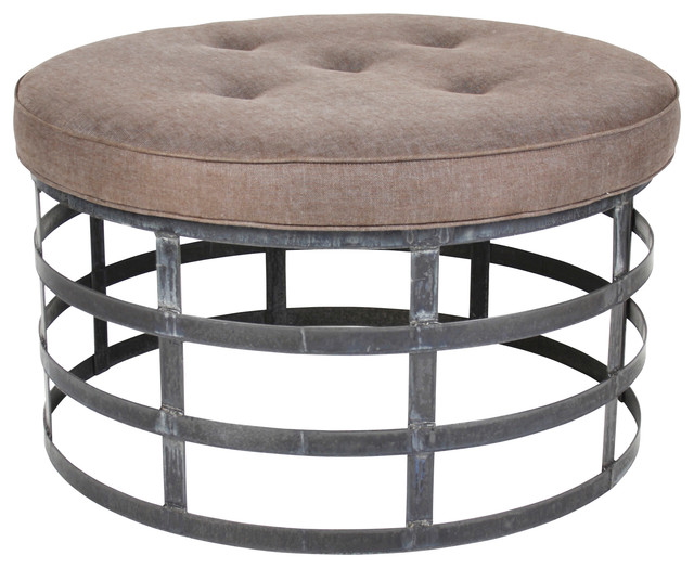 Round Metal Ottoman Transitional Footstools And Ottomans