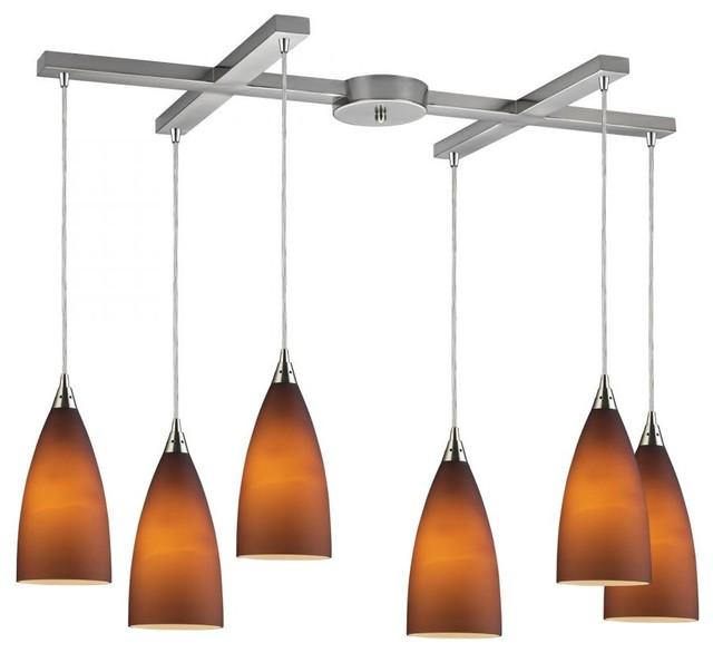 Six Light Satin Nickel Light Amber Glass Multi Light Pendant tropical-kitchen-lighting-and-cabinet-lighting