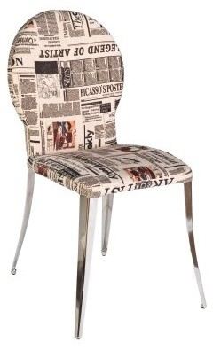 Euro Style Farid Dining Side Chairs - Set of 2 - Newsprint Fabric contemporary-dining-sets