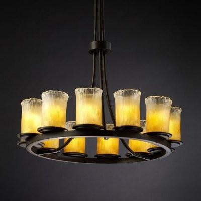 Justice Design Group Veneto Luce GLA-8763-16-GLDC-DBRZ Dakota 12-Light Ring Chan modern-chandeliers