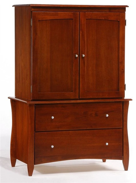 TV Armoire w Cherry Finish & Two Drawers transitional-media-storage